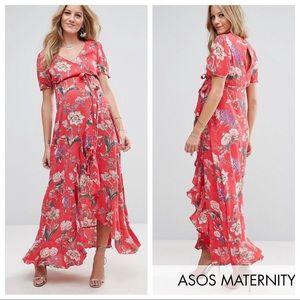 ASOS Maternity Maxi Floral Ruffle Tea Dress Size 6